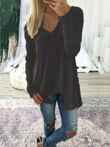 Loose Solid Color Long Sleeves Sweater Tops COFFEE M