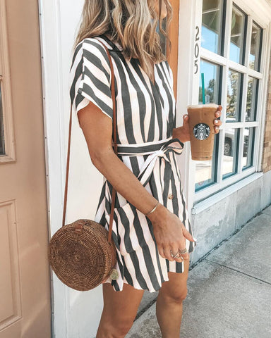 Image of Bohemia Short Sleeves Striped Mini  Dress GRAY M