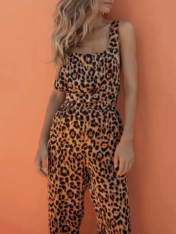 Leopard Printed Crossover Strap of Back Jumpsuits SAME AS PICTURES S