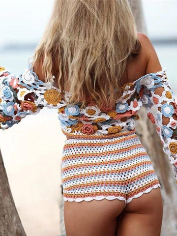 Image of Knitted Bohemia Long Sleeves Blouses\u0026shirts Tops ORANGE L
