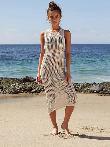 Image of Dooerzi Solid Backless Hollow Beach Cover-ups