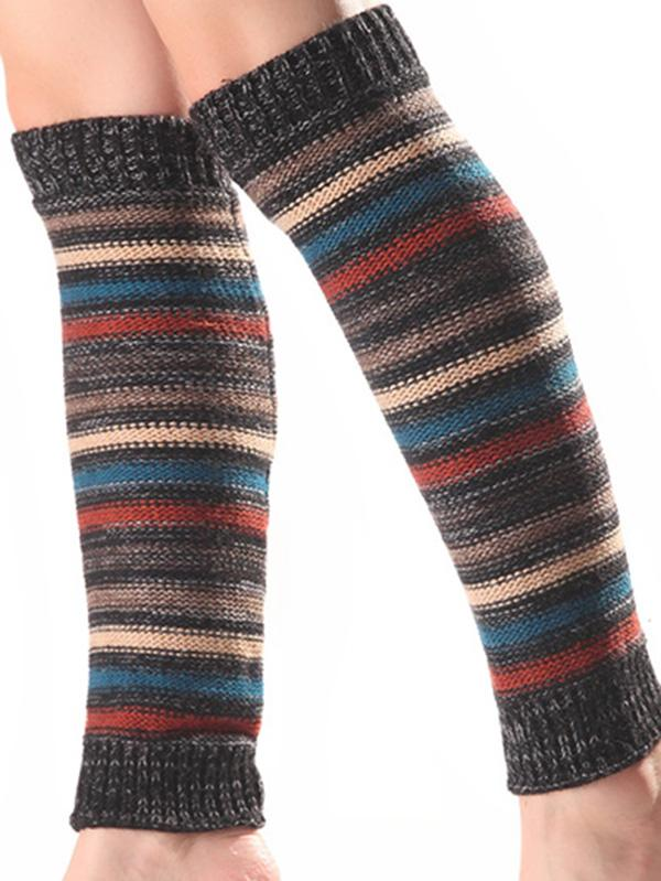 Bohemia 5 Colors Knitting Over Knee-high Stocking KHAKI