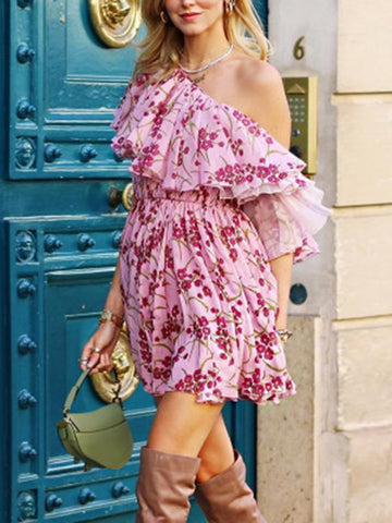 Image of Floral Off-the-shoulder Mini Dress FLORID S