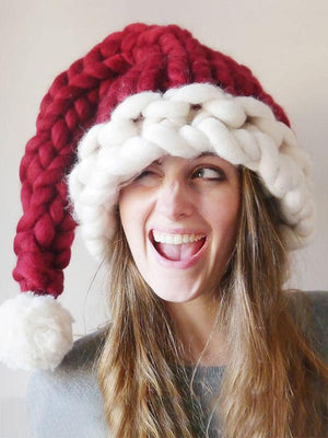 Cute Christmas Knitting Aran Weight Hat RED CHILD