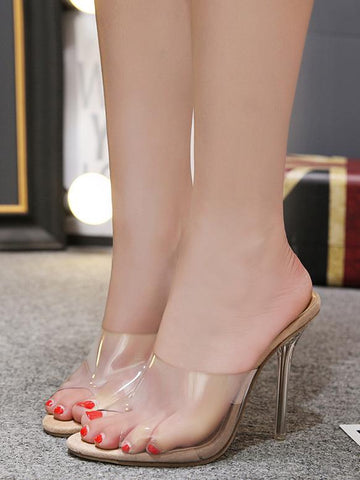 Image of Clear Mules Peep Toe Sandal High Heels APRICOT 40
