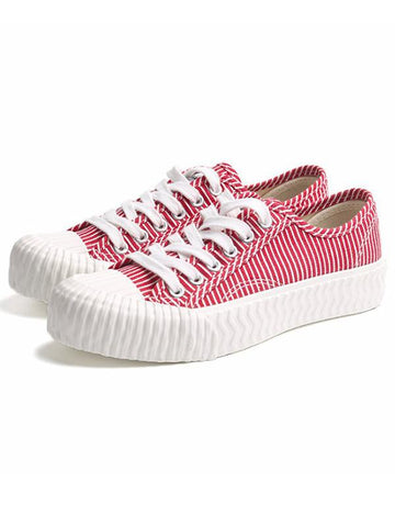 Image of Stripe Canvas Sneaker Casual Shoes RED 38