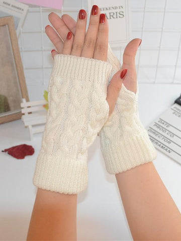 Threaded Half Finger Knit Gloves KHAKI FREE SIZE
