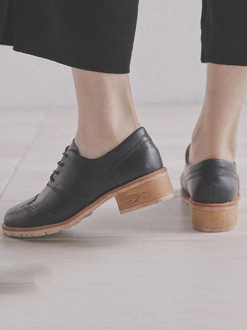 Image of Vintage Solid Leather Shoes BLACK 37