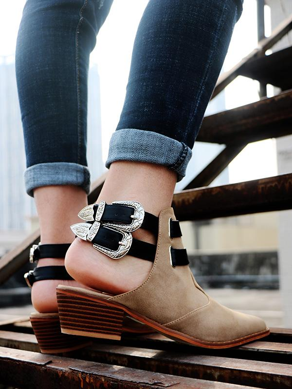 Fashion Double Buckle Pointed Shoes BLACK 39