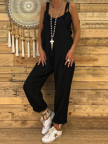 Image of High-waist Loose Bandage Jumpsuits BLACK M