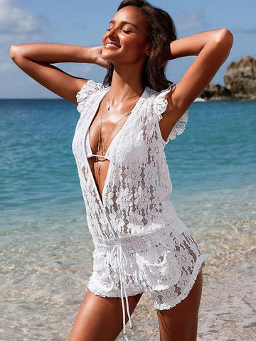 Image of Lace Falbala Deep V-Neck Short Jumpsuits WHITE L