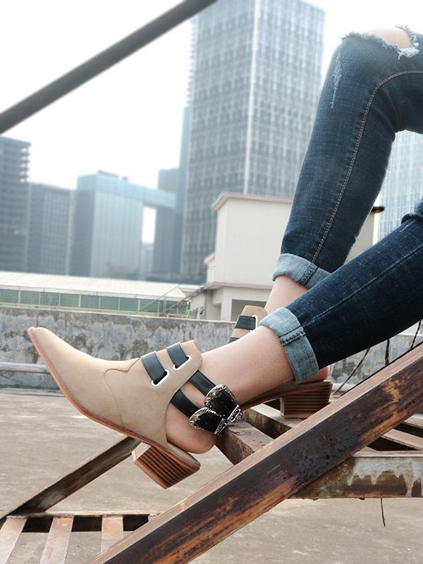 Fashion Double Buckle Pointed Shoes BLACK 41