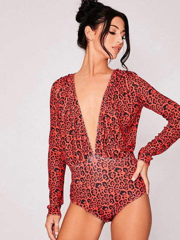 Image of Fashion Deep V-neck Leopard Jumpsuits CREAMY XL