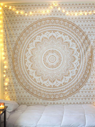 Classical Summer Bohemia Rectangle Shawl Beach Mat Yoga Mat WHITE