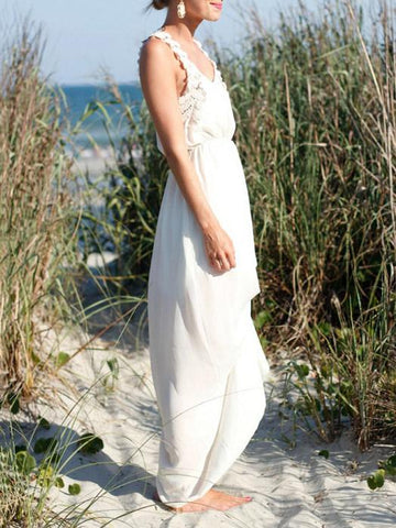 Image of Flower Lace Strap White Maxi Dress WHITE FREE SIZE