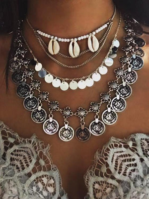 Bohemia Coin Tassels Necklaces Accessories SLIVER