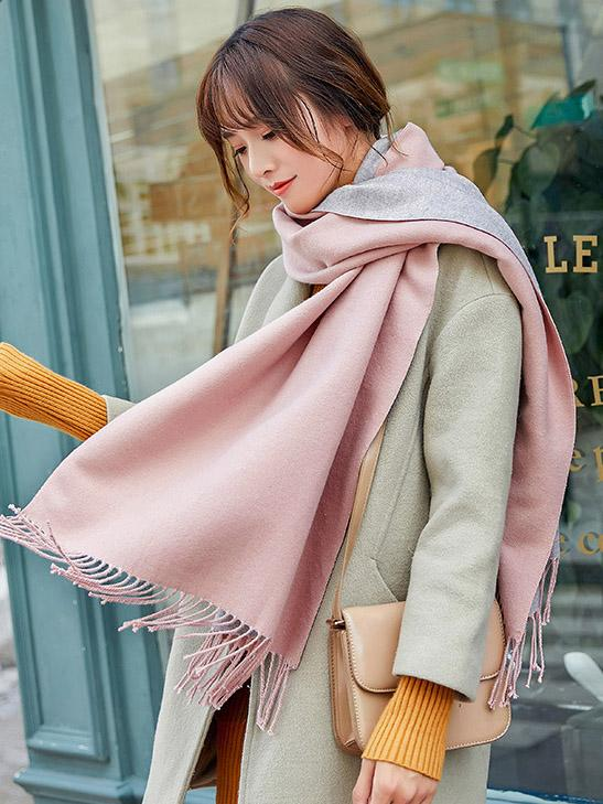 Both-side Warm Tasseled Super Long Scarf PINK-GRAY FREE SIZE