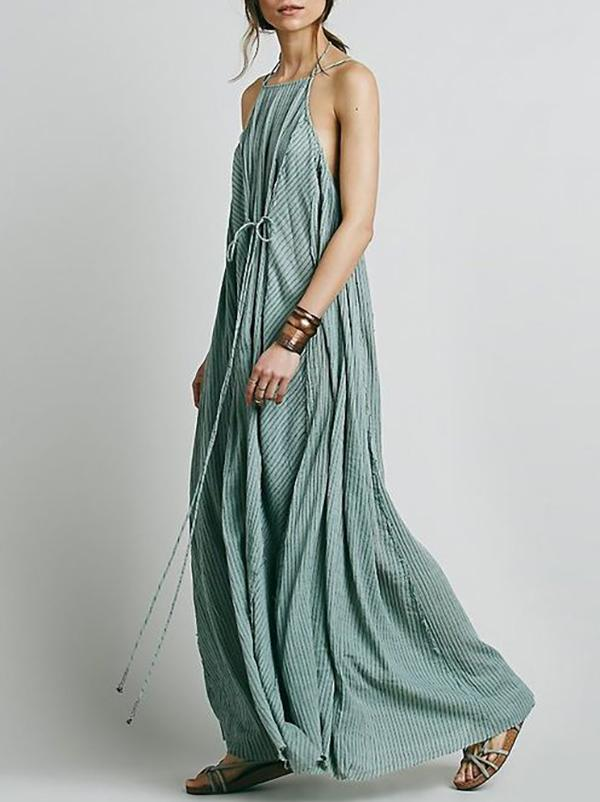 Simple Striped Spaghetti-neck Maxi Dress SAME AS PICTURES S