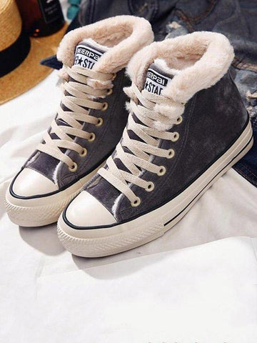 Fashion Warm Fuzzy Plush Sneakers BLACK 39
