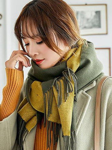 Image of Dooerzi Both-side Warm Tasseled Super Long Scarf