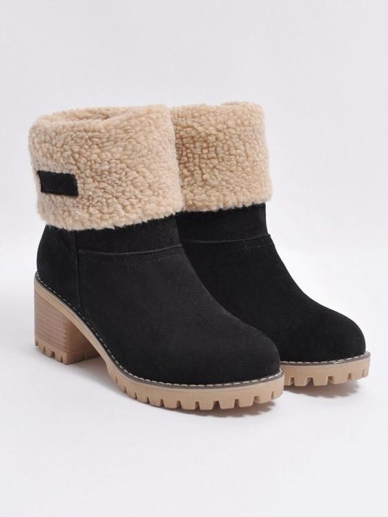 Chunky Mid Calf Winter\u0026Snow Boots BLACK 38