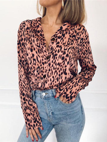 Image of V-neck Leopard Bohemia Blouse Top PINK S