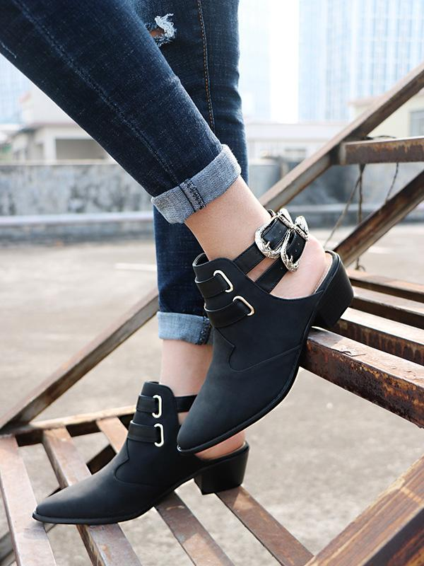 Fashion Double Buckle Pointed Shoes BLACK 38