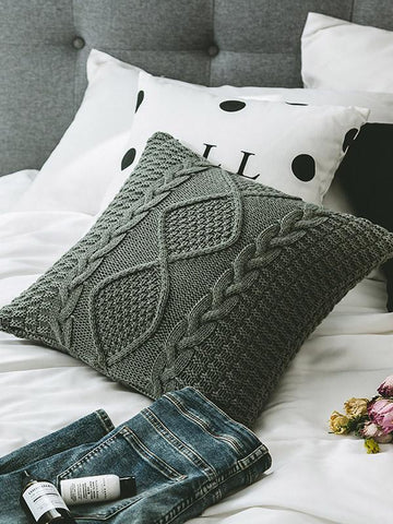 Image of Dooerzi Plaid Textured Knitted Pillow Case