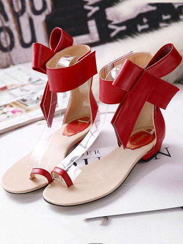 Statement Bowknot Flat Sandals RED 40