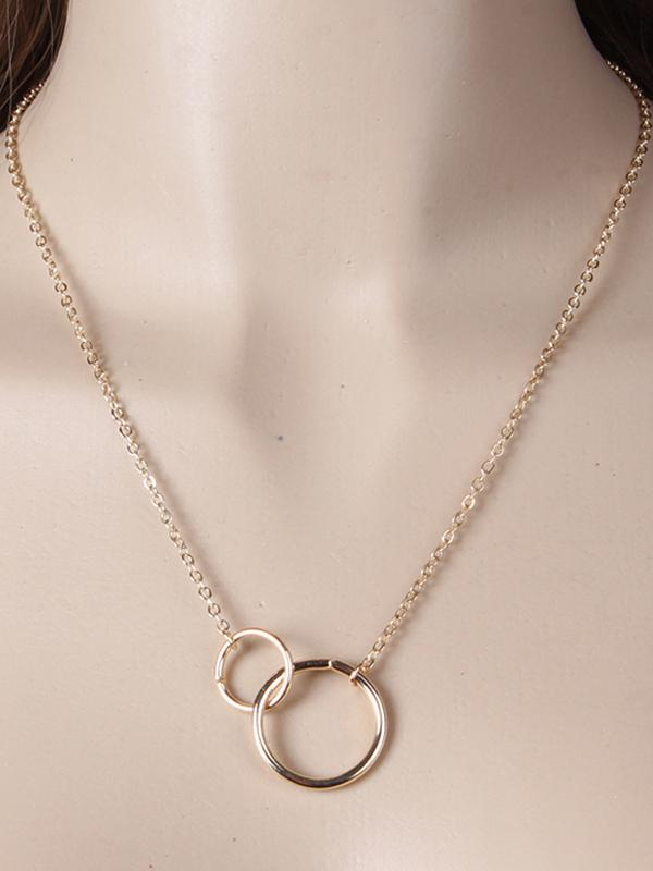Simple Double Ring Necklace SILVER FREE SIZE