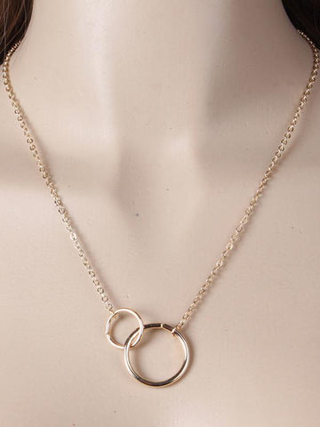 Image of Simple Double Ring Necklace SILVER FREE SIZE