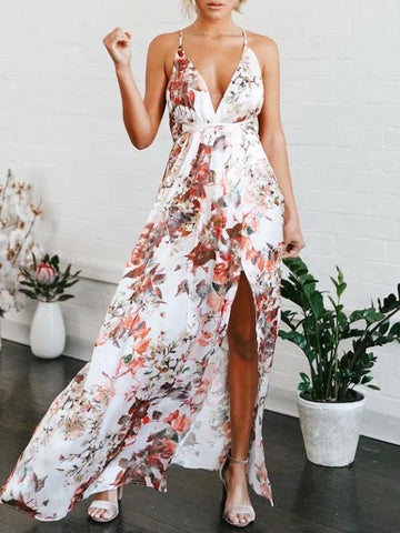 Image of Floral V-Neck Split-front Backless Maxi Dresses S
