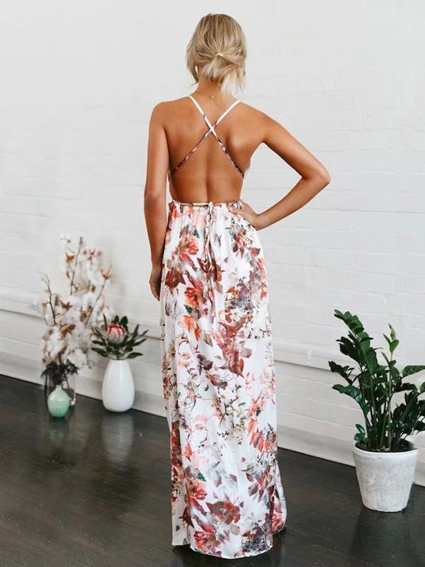 Floral V-Neck Split-front Backless Maxi Dresses M