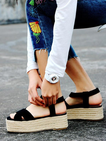 Image of Ankle Strap Platform Sandals BLACK 40