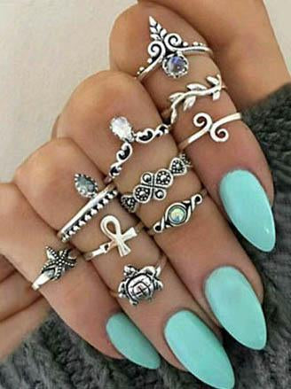 Beautiful 10pcs Vintage Rings Accessories SLIVER
