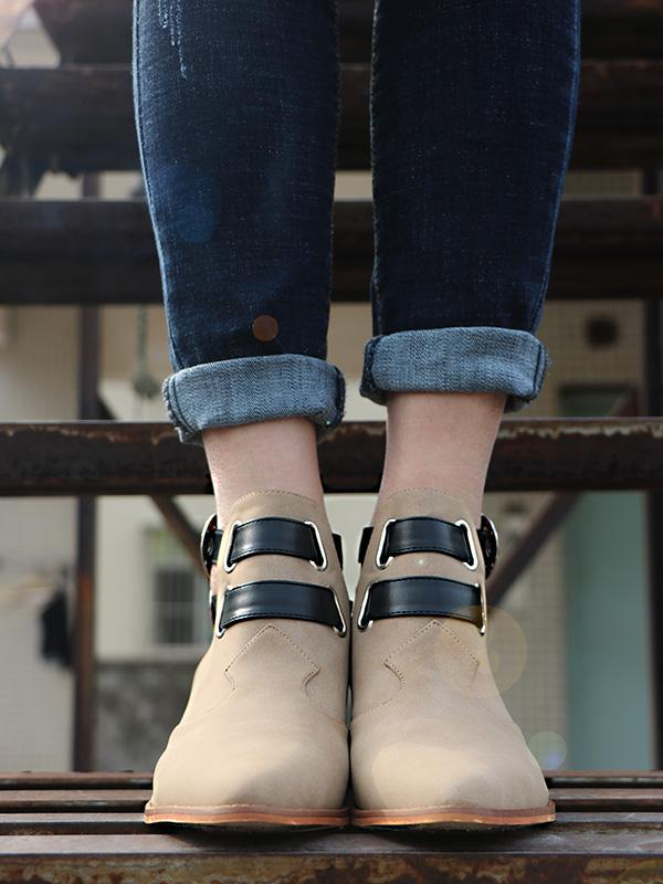Fashion Double Buckle Pointed Shoes KHAKI 36