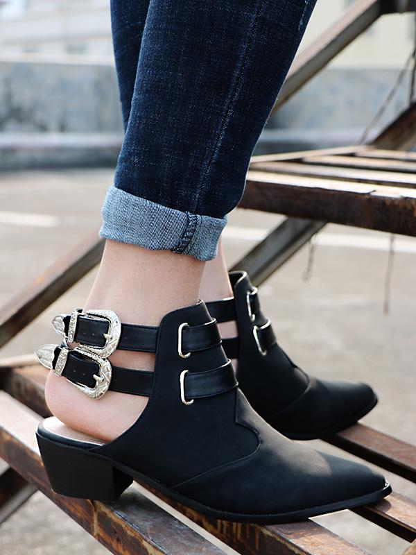 Fashion Double Buckle Pointed Shoes BLACK 36