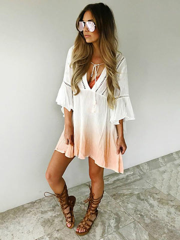 Image of V-neck 3\/4 Sleeves Gradient Bohemia Mini Dress CREAMY WHITE M