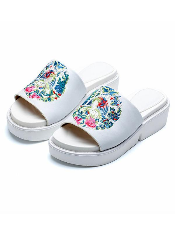 Embroidered Peep-toe Slides Shoes WHITE 39