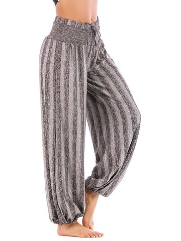 Image of Simple Striped Wide Leg Casual Pants GRAY 3XL
