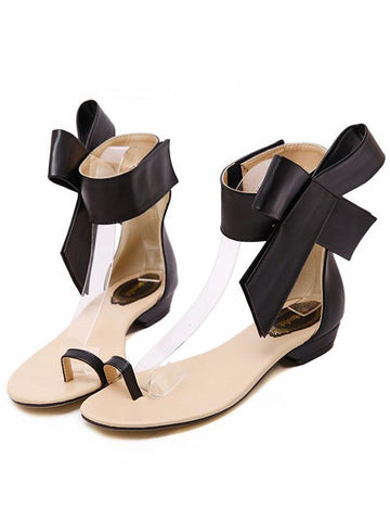Statement Bowknot Flat Sandals BLACK 35