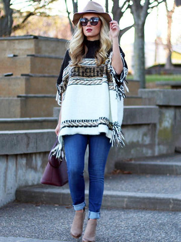 Image of Loose Striped Long Sleeves Sweater Tops BLACK M