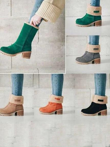 Chunky Mid Calf Winter\u0026Snow Boots CAMEL 36