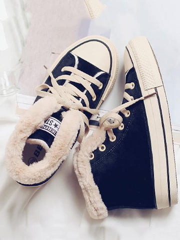 Fashion Warm Fuzzy Plush Sneakers BLACK 38