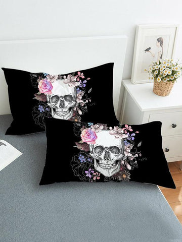 Image of Skull Flower Pattern Twain Pillow Case SAME AS THE PICTURE SMALL SIZE