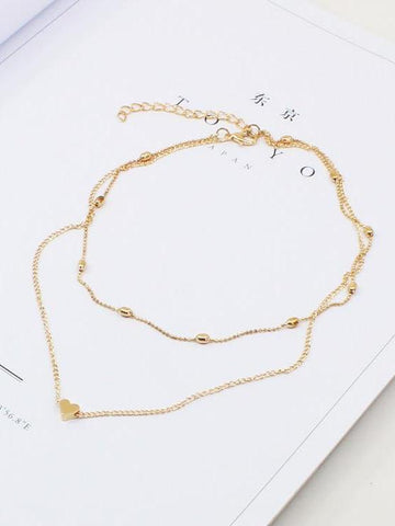Dooerzi Peach Heart Multilayer Necklace Accessories