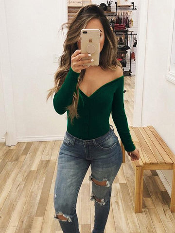Image of Off Shoulder Sexy Solid Bohemia Jumpsuits GREEN M