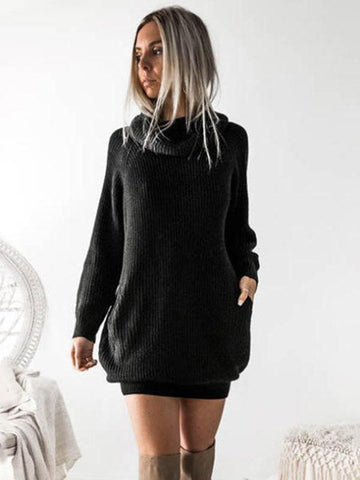 Image of Solid Split-joint Knitting Long Sweater Skirt BLACK FREE SIZE