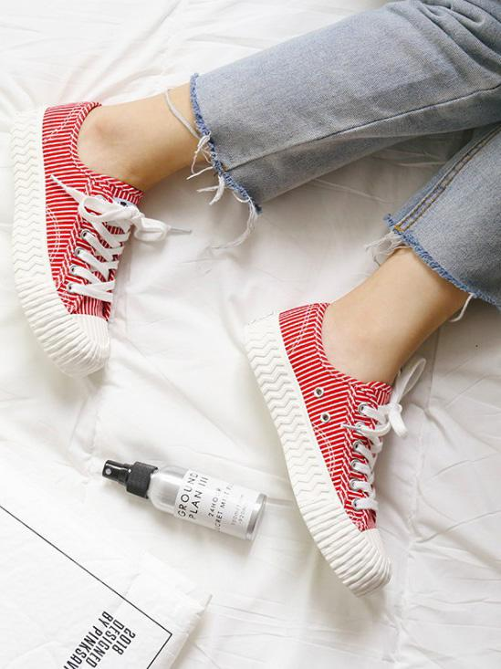 Stripe Canvas Sneaker Casual Shoes RED 35