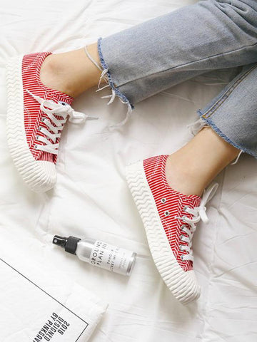 Image of Stripe Canvas Sneaker Casual Shoes RED 35